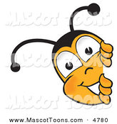 Mascot Vector Cartoon of a Honey Bee Mascot Cartoon Character Peeking His Head Around a Corner by Toons4Biz