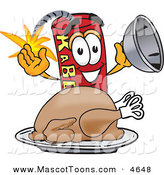 Mascot Vector Cartoon of a Hungry and Smiling Dynamite Mascot Cartoon Character with a Thanksgiving Turkey on a Platter by Toons4Biz