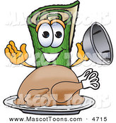 Mascot Vector Cartoon of a Hungry and Smiling Green Carpet Mascot Cartoon Character with a Thanksgiving Turkey on a Platter by Toons4Biz