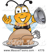 Mascot Vector Cartoon of a Hungry Bee Mascot Cartoon Character Holding the Lid to a Platter with a Thanksgiving Turkey on It by Toons4Biz