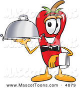 Mascot Vector Cartoon of a Hungry Chili Pepper Mascot Cartoon Character Holding a Serving Platter by Toons4Biz