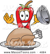 Mascot Vector Cartoon of a Hungry Chili Pepper Mascot Cartoon Character with a Turkey in a Platter on White by Toons4Biz