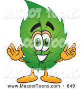 Mascot Vector Cartoon of a Leaf Mascot Cartoon Character Smiling by Toons4Biz