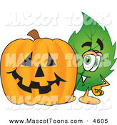 Mascot Vector Cartoon of a Leaf Mascot Cartoon Character with a Halloween Jack O Lantern Pumpkin by Toons4Biz