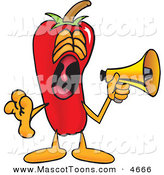 Mascot Vector Cartoon of a Loud and Happy Chili Pepper Mascot Cartoon Character Screaming into a Megaphone by Toons4Biz