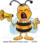 Mascot Vector Cartoon of a Loud Bee Mascot Cartoon Character Screaming into a Megaphone by Toons4Biz