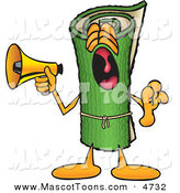 Mascot Vector Cartoon of a Loud Green Carpet Mascot Cartoon Character Screaming into a Megaphone by Toons4Biz