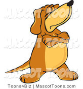 Mascot Vector Cartoon of a Moody and Stubborn Brown Dog Mascot Cartoon Character with Crossed Arms, Disobeying Commands by Toons4Biz