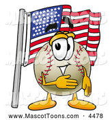 Mascot Vector Cartoon of a Patriotic Baseball Mascot Cartoon Character Pledging Allegiance to an American Flag by Toons4Biz