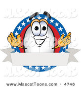 Mascot Vector Cartoon of a Patriotic Blimp Mascot Cartoon Character Logo with Stars and a Blank Ribbon by Toons4Biz