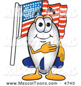 December 6th, 2012: Mascot Vector Cartoon of a Patriotic Blimp Mascot Cartoon Character Pledging Allegiance to the American Flag by Toons4Biz