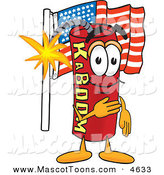 Mascot Vector Cartoon of a Patriotic Dynamite Mascot Cartoon Character Pledging Allegiance to the American Flag by Toons4Biz