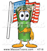 Mascot Vector Cartoon of a Patriotic Green Carpet Mascot Cartoon Character Pledging Allegiance to the American Flag by Toons4Biz