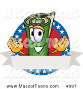 Mascot Vector Cartoon of a Patriotic Green Carpet Mascot Cartoon Character with Stars and a Blank Label by Toons4Biz
