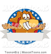Mascot Vector Cartoon of a Patriotic Smiling Brown Dog Mascot Cartoon Character with Open Arms with a Blank Label by Toons4Biz