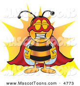 Mascot Vector Cartoon of a Proud Yellow Bee Mascot Cartoon Character Dressed As a Super Hero by Toons4Biz