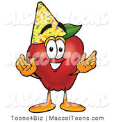 Mascot Vector Cartoon of a Red Apple Partying by Toons4Biz