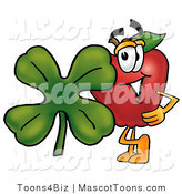 Mascot Vector Cartoon of a Red Apple with a Green Four Leaf Clover on St Paddy's or St Patricks Day by Toons4Biz