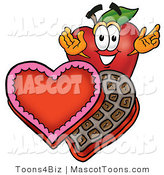 Mascot Vector Cartoon of a Red Apple with Valentines Day Candy by Toons4Biz