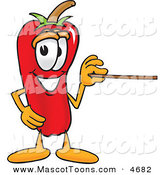Mascot Vector Cartoon of a Red Chili Pepper Mascot Cartoon Character Holding a Pointer Stick by Toons4Biz