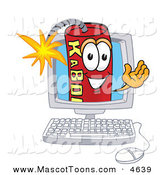Mascot Vector Cartoon of a Red Dynamite Mascot Cartoon Character on a Computer Screen by Toons4Biz