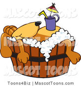 Mascot Vector Cartoon of a Resting Brown Dog Mascot Cartoon Character with a Drink on His Belly, Taking a Bath by Toons4Biz