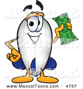 Mascot Vector Cartoon of a Rich Blimp Mascot Cartoon Character Holding a Dollar Bill by Toons4Biz