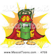 Mascot Vector Cartoon of a Rolled Green Carpet Mascot Cartoon Character Dressed As a Super Hero by Toons4Biz