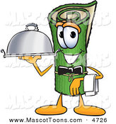 Mascot Vector Cartoon of a Rolled Green Carpet Mascot Cartoon Character Dressed As a Waiter and Holding a Platter by Toons4Biz