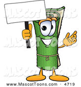 Mascot Vector Cartoon of a Rolled Green Carpet Mascot Cartoon Character Holding a Blank Sign by Toons4Biz
