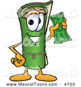 Mascot Vector Cartoon of a Rolled Green Carpet Mascot Cartoon Character Holding a Dollar Bill by Toons4Biz