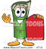 Mascot Vector Cartoon of a Rolled Green Carpet Mascot Cartoon Character Holding a Red Price Tag by Toons4Biz