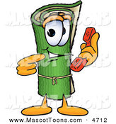 Mascot Vector Cartoon of a Rolled Green Carpet Mascot Cartoon Character Holding a Telephone by Toons4Biz