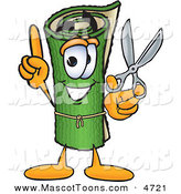 Mascot Vector Cartoon of a Rolled Green Carpet Mascot Cartoon Character Holding Scissors by Toons4Biz