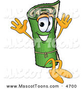 Mascot Vector Cartoon of a Rolled Green Carpet Mascot Cartoon Character Jumping by Toons4Biz