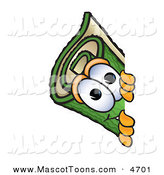 Mascot Vector Cartoon of a Rolled Green Carpet Mascot Cartoon Character Peeking Around a Corner by Toons4Biz