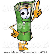 Mascot Vector Cartoon of a Rolled Green Carpet Mascot Cartoon Character Pointing Upwards by Toons4Biz