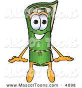 Mascot Vector Cartoon of a Rolled Green Carpet Mascot Cartoon Character Sitting by Toons4Biz