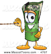 Mascot Vector Cartoon of a Rolled Green Carpet Mascot Cartoon Character Using a Pointer Stick by Toons4Biz