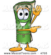 Mascot Vector Cartoon of a Rolled Green Carpet Mascot Cartoon Character Waving and Pointing by Toons4Biz