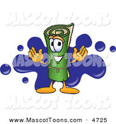 Mascot Vector Cartoon of a Rolled Green Carpet Mascot Cartoon Character with a Blue Splatter by Toons4Biz