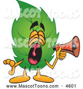 June 21st, 2013: Mascot Vector Cartoon of a Shouting Leaf Mascot Cartoon Character Screaming into a Megaphone by Toons4Biz