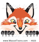 Mascot Vector Cartoon of a Sly Fox Mascot Cartoon Character Peeking by Toons4Biz
