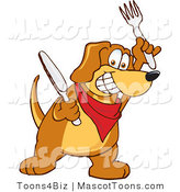 Mascot Vector Cartoon of a Smiling and Hungry Brown Dog Mascot Cartoon Character Holding a Knife and Fork, Extremely Hungry by Toons4Biz