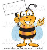 Mascot Vector Cartoon of a Smiling Bee Mascot Cartoon Character Holding a Blank White Sign by Toons4Biz