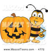 Mascot Vector Cartoon of a Smiling Bee Mascot Cartoon Character with a Carved Halloween Pumpkin by Toons4Biz