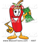 February 22nd, 2013: Mascot Vector Cartoon of a Smiling Chili Pepper Mascot Cartoon Character Holding a Dollar Bill by Toons4Biz