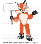 Mascot Vector Cartoon of a Smiling Fox Mascot Cartoon Character Holding a Blank White Sign by Toons4Biz