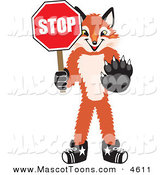 Mascot Vector Cartoon of a Smiling Fox Mascot Cartoon Character Holding a Stop Sign by Toons4Biz