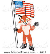 Mascot Vector Cartoon of a Smiling Fox Mascot Cartoon Character Holding an American Flag by Toons4Biz